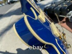 D'Angelico Excel DC Shoreline Limited P-90 Indigo Cobalt Blue Gold Bigsby w Case