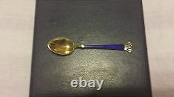 Demitasse Spoons Gold Plated Sterling Silver Cobalt Blue Enamel Denmark Set of 6