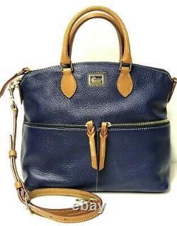 Dooney & Bourke Dillen Pebble Leather Double Pocket Satchel COBALT BLUE NWT $288
