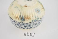Doulton Burslem Round Vase Bowl Flow Blue Gold Hand painted detail Late 1800's