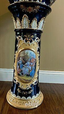 Dresden Richard Klemm Cobalt Blue Gold Portrait Planter Jardiniere & Pedestal