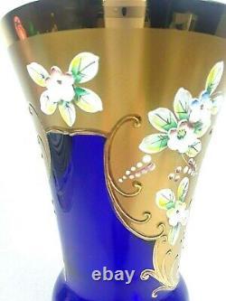 Egermann Bohemian Crystal Vase In Cobalt Blue Gold And Gilt Applied Flowers