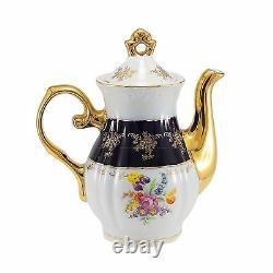Euro Porcelain 17-pc Floral Tea Set for 6 Original Cobalt Tableware 24K Gold