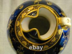 Exquisite Antique Minton Porcelain Cobalt Blue & Gold Hand Painted Pitcher Jug