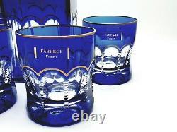 FABERGE Egg Russian Cobalt Blue Crystal OPERETTA 24K Gold Whiskey Glass Decanter