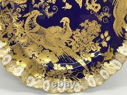 FAB! Royal Crown Derby Aves Cobalt Blue Paradise Heraldic Wave Border 8.5 D