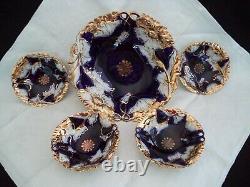 Flow Blue porcelain china berry set lg bowl 4 sm cobalt, gold Germany IPF 1900s