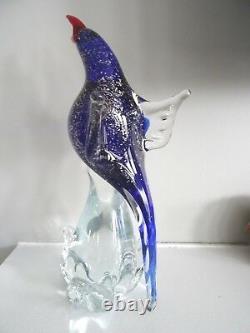 Formia Murano Art Glass MAESTRO FRANCESCO Bird Sculpture Figurine Gold Fleck