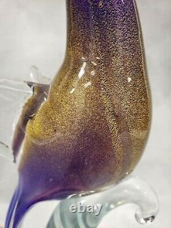 Formia Vetri di MURANO Bird of Paradise Open Wing 12 Cobalt Gold Glass Figurine