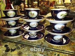 French Jean Pouyot Limoges Set 9 Cups & Saucers Cobalt Gold Hand Painted Scenes