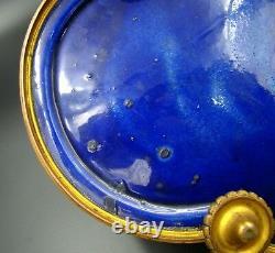 French Sevres Porcelain Cobalt Blue Covered Box Lovers Gold Ornate & Bronze 1880
