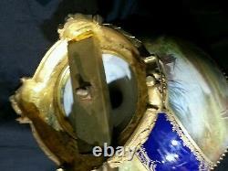 French sevres centerpiece A. Collot cobalt blue romantic boucher GOLD GILT