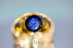 GIA Certified 8.07 Ct Cobalt Blue Sapphire 18K Rose Gold Men's Ring