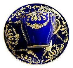 GORGEOUS Antique Royal Doulton Cobalt Blue and Gold Porcelain Cup & Saucer A
