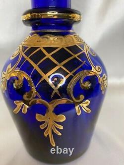 GRAND ANTQ CZECH BOHEMIAN MOSER COBALT BLUE 22k GOLD OTTOMAN SPIRE DECANTER