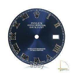 Genuine Rolex Cobalt Blue Roman Numeral Dial for Datejust SS 36mm 116200 116234