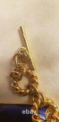 Gucci Gold Chain cobalt royal blue enamel links Belt Necklace vintage 1970s