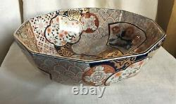 Gump's Chinese Imari bowl with box. 1970. Traditional gold, cobalt blue, red colors