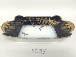 HAVILAND LIMOGES CHF1211 Porcelain Cobalt Blue Gold 12.5 Serving Tray Dish Bowl