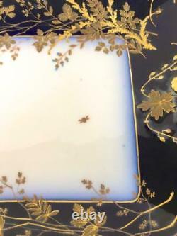 HAVILAND LIMOGES CHF1211 Porcelain Cobalt Blue Gold Large 20 Serving Tray Dish