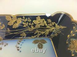 HAVILAND LIMOGES CHF1211 Porcelain Cobalt Blue Gold Serving Vegetable Bowl Dish