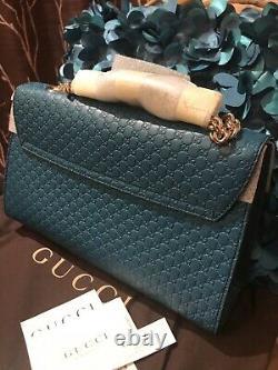 HOT! NEW Gucci 449635 Cobalt Micro GG Guccissima Leather Emily Purse Handbag