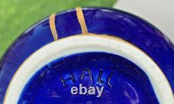 Hall China COBALT/GOLD FRENCH TEAPOT with GOLD PALM LEAF DESIGN. DOWNSIZING