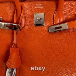Hermes Birkin 30 Handbag Orange Cobalt Swift Clemence with Gold Hardware X Stamp
