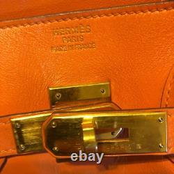 Hermes bag Limited edition Birkin 30 Orange Cobalt Swift Gold Hardware Stamp