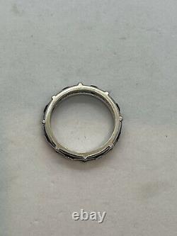 Hidalgo 18k white gold diamond cobalt dark blue enamel band ring bead 6.5g net