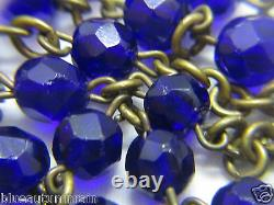 Htf Antique Marked 14k Yellow Gold Medal Charm & Cobalt Blue Rosary Necklace