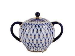 Imperial Porcelain'Cobalt Net Tulip' Tea Set 20 pc. For 6 persons, Gold, Russia