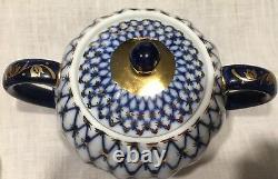 Imperial Russia Cobalt Blue Gold Net Lomonosov Coffee /Tea Pot and Sugar Bowl