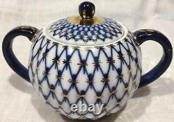 Imperial Russia Cobalt Blue Gold Net Lomonosov Tea Pot and Sugar Bowl +10 Cups