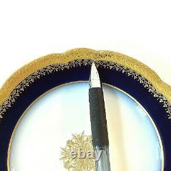 JEAN POUYAT LIMOGES ANTIQUE SET 4 BREAD HOR d'HOEURVE PLATE COBALT BLU GLD 6.25