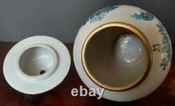 Japanese Old ÏMARI Ginger Jar withLid Hand Decorated Peacock Cobalt Blue-Gold