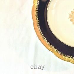 Jean Pouyat Limoges Antique Set 2 Soup Salad Bowls Cobalt Blue Gold 9 1/8 France