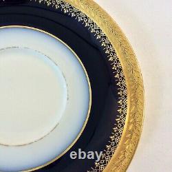 Jean Pouyat Limoges Antique Set 6 Coffee Teacups Cobalt Blu Gld Encrust 3.5 Oz