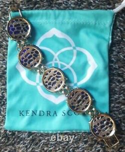 Kendra Scott Cassie Cobalt Blue Cats Eye Gold Chunky Bracelet Fashion Jewelry KS