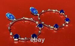 Kendra Scott Faceted Blue Kyocera Opal/cobalt /cz 14k Gold Plate Hoop Earrings