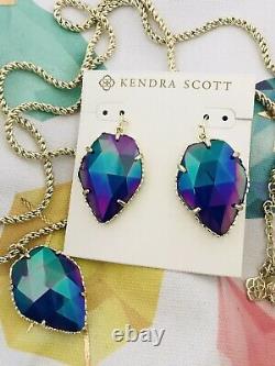 Kendra Scott Gold Corley/Corla Set Necklace/earrings Cobalt Iridescent