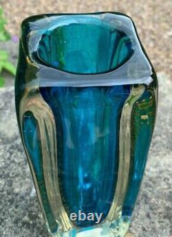 Large Heavy 2.5kg Murano Art Glass Cased Kingfisher Blue Gold Sommerso Vase