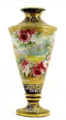 Large Japanese Nippon Cobalt Blue Gold Moriage Bead Rose Pedestal Vase 18 47CM