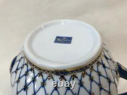 Large Lomonosov Imperial Russian Cobalt Net 22k Gold Porcelain Teapot, 7 1/4 H