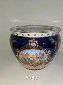 Large Porcelain Limoges Style Cobalt Blue & Gold Gilding Fish Bowl Planter