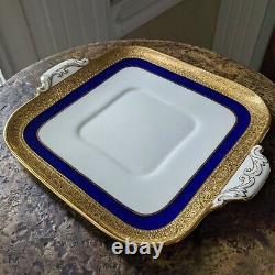 Lenox China WESTCHESTER Cobalt Blue Cake Plate Square M139K Gold Encrusted c1915