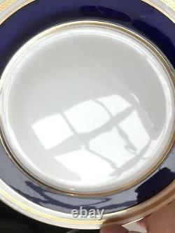 Lenox E66B Tiffany & Co Dinner Plate Cobalt Blue Gold Encrusted Antique Set of 7