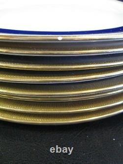 Lenox Ovington China 8 J19k Cobalt Blue & Gold Encrusted Salad Plates C 1912