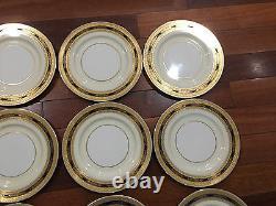 Lenox Porcelain Set of 12 Cobalt Blue & Gold Encrusted Plates 10 1/2