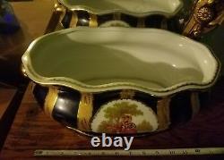 Limoge Large Porcelain Hand Painted Cobalt Blue & Gold Jardinere /planter